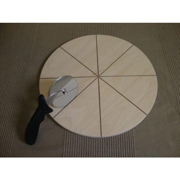 Fa pizzatányér szeleteléshez