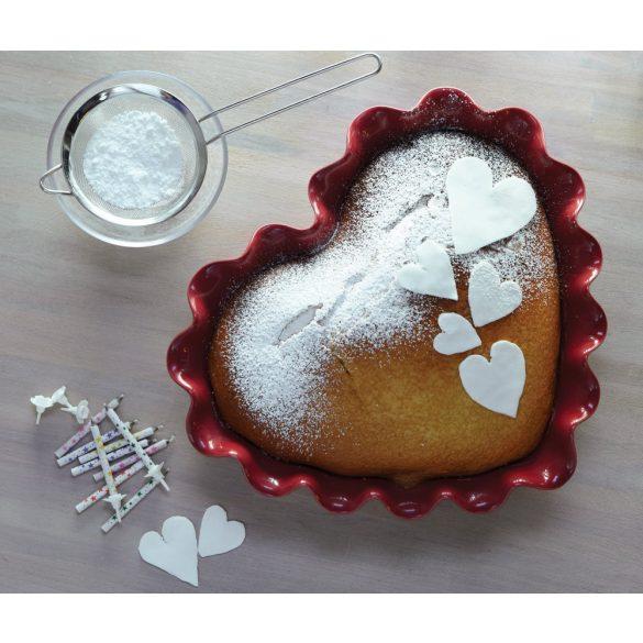Emile Henry szív alakú kerámia tepsi 32,5 x 28 cm, Clay